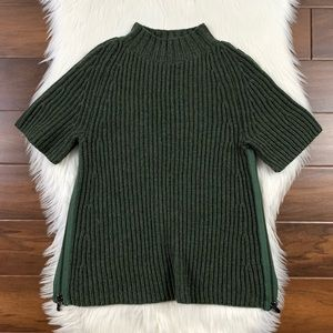 J Brand Green Fatigue Short Sleeve Ribbed Sweater